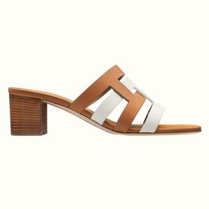 Hermes Women Amica Sandal Calfskin Two Intertwined Initials Straight Cut Edges-Sandy