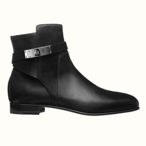 Hermes Women Neo Ankle Boot Calfskin with Iconic Buckle-Black