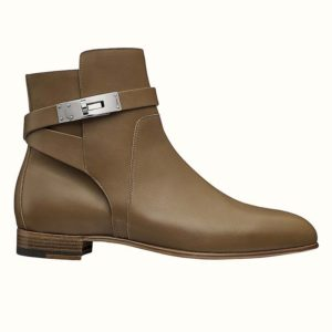 Hermes Women Neo Ankle Boot Calfskin with Iconic Buckle-Brown