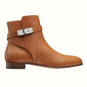 Hermes Women Neo Ankle Boot Calfskin with Iconic Buckle-Chocolate
