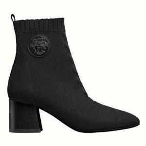 Hermes Women Volver 60 Ankle Boot Black Leather 2.4 Heel