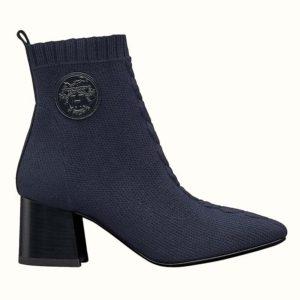 Hermes Women Volver 60 Ankle Boot Navy Leather 2.4 Heel