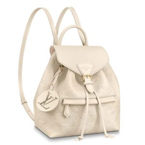 Louis Vuitton LV Unisex Montsouris Backpack Monogram Empreinte Embossed Leather-Beige