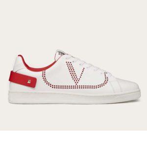 Valentino Unisex Backnet Sneaker Calfskin Leather Side VLogo Signature-Red