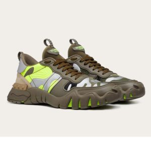 Valentino Unisex Camouflage Rockrunner Plus Sneaker Raised Details-Lime