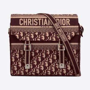 Dior Unisex Diorcamp Bag Burgundy Dior Oblique Embroidery