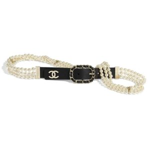 Chanel Women Calfskin Glass Pearls & Gold-Tone Metal Black Belt