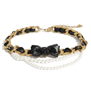 Chanel Women Metal Glass Pearls & Calfskin Gold Pearly White & Black Belt