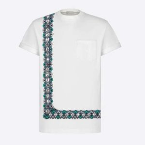 Dior Men Dior And Shawn Oversized T-Shirt White Cotton Jersey