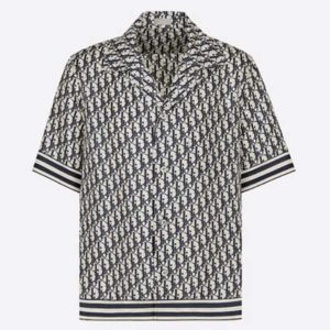 Dior Men Oblique Hawaiian Short Sleeve Shirt Multicolor Silk Twill