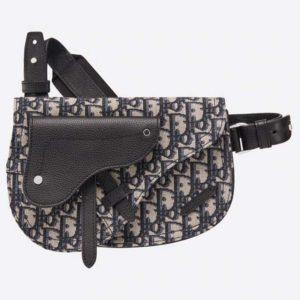 Dior Men Saddle Pouch Beige and Black Dior Oblique Jacquard