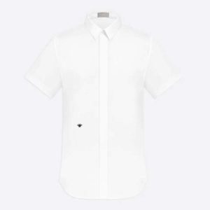Dior Men Short Sleeve Shirt White Cotton Poplin Black Dior Bee Embroidery