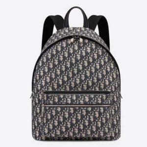 Dior Unisex Rider Backpack Beige and Black Dior Oblique Jacquard