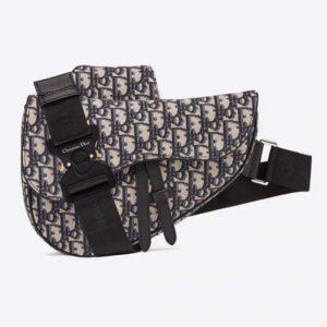 Dior Unisex Saddle Bag Beige and Black Dior Oblique Jacquard