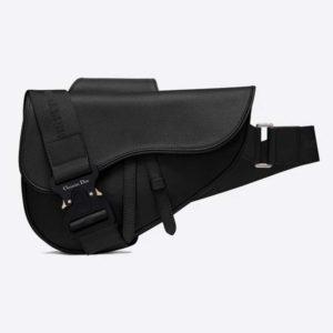 Dior Unisex Saddle Bag Black Grained Calfskin Christian Dior CD Buckle