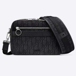 Dior Unisex Safari Messenger Bag Black Dior Oblique Jacquard Grained Calfskin