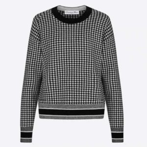 Dior Women 30 Montaigne Sweater Black White Houndstooth Stretch Cashmere Jacquard
