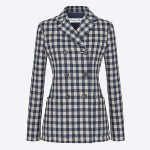Dior Women Double-Breasted Button Jacket Blue White Check Wool Twill