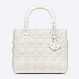 Dior Women Medium Lady Dior Bag Latte Ultramatte Cannage Calfskin-White