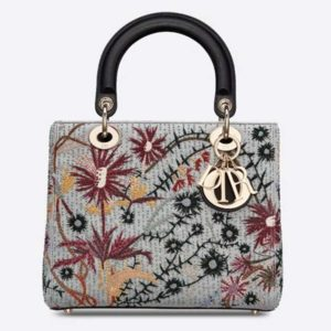 Dior Women Medium Lady Dior Jardin De Minuit Bag Embroidered Calfskin