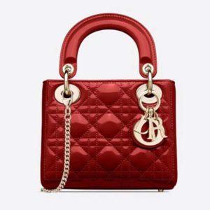 Dior Women Mini Lady Dior Bag Cherry Red Patent Cannage Calfskin