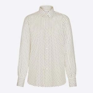 Dior Women Shirt With Button Collar Ivory Silk Black Polka Dots