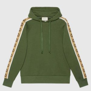 Gucci Men Cotton Jersey Hooded Sweatshirt Green Heavy Felted Organic