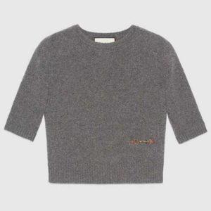 Gucci Women Cashmere Top with Horsebit Crewneck Gold-Toned Metal