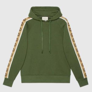 Gucci Women Cotton Jersey Hooded Sweatshirt Green Heavy Felted Organic