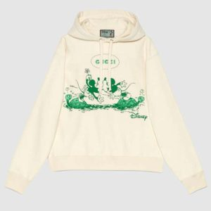 Gucci Women Disney x Gucci Hooded Sweatshirt White Felted Organic Cotton Jersey