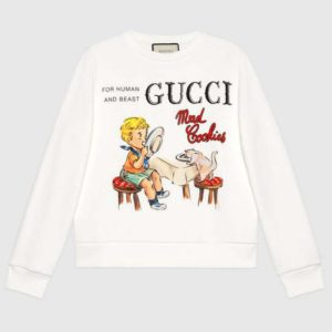 Gucci Women Gucci 'Mad Cookies' Print Sweatshirt Cotton Jersey Crewneck-White