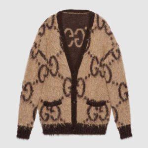 Gucci Women Reversible GG Mohair Wool Cardigan Brushed GG Jacquard Blend