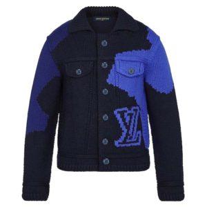 Louis Vuitton LV Men LV Intarsia Buttoned Jacket Denim Jacket Wool Blue