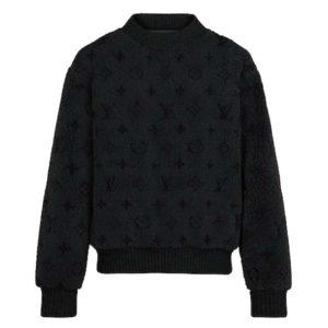 Louis Vuitton LV Men Monogram Shearling Crewneck Grey Loose Fit