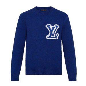 Louis Vuitton LV Women LV Intarsia Crewneck Regular Fit Wool-Blue