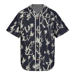 Louis Vuitton Men LV Leaf Denim Baseball Shirt Cotton Loose Fit