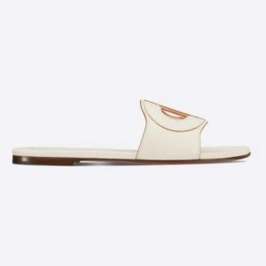 Dior Women D-Club Slide White Calfskin Leather 'CD' Signature