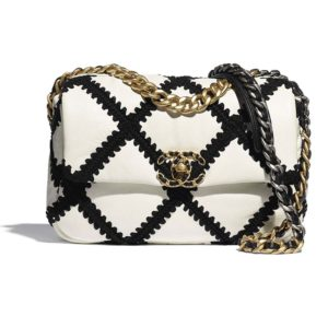 Chanel Women 19 Flap Bag in Calfskin Crochet White & Black