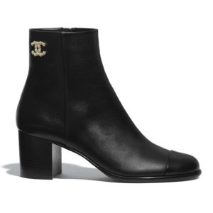 Chanel Women Ankle Boots Calfskin Black 6.5 cm 2.6 in Heel