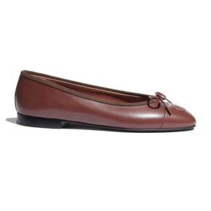 Chanel Women Ballerinas Calfskin Brown 1 cm Heel