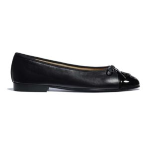 Chanel Women Ballerinas Lambskin & Patent Calfskin Black 1 cm Heel