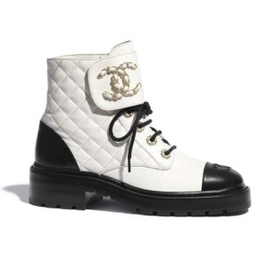 Chanel Women Lace-Ups Shiny Goatskin & Calfskin White 2 cm Heel