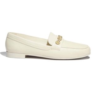 Chanel Women Loafers Lambskin Ivory 1.5 cm Heel
