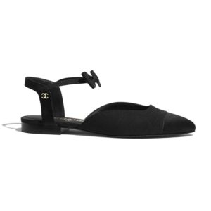 Chanel Women Mary Janes Grosgrain & Satin Black 1 cm Heel