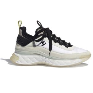 Chanel Women Sneakers Suede Calfskin Nylon & Grosgrain White Gray & Yellow