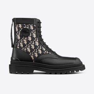 Dior Unisex Dior Explorer Ankle Boot Dior Oblique Jacquard Black Smooth Calfskin