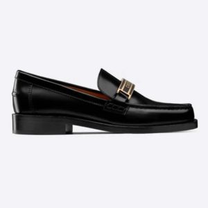 Dior Women Dior Code Loafer Black Glazed Calfskin 'Christian Dior' Signature