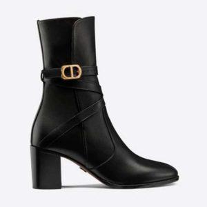 Dior Women Dior Empreinte Ankle Boot 'CD' Black Soft Calfskin