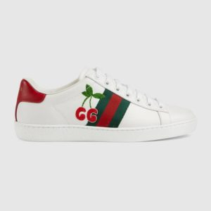 Gucci GG Unisex Ace Sneaker with Cherry White Leather Green Red Web