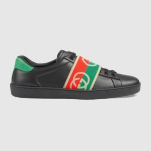 Gucci GG Unisex Ace Sneaker with Elastic Web Interlocking G Black Leather